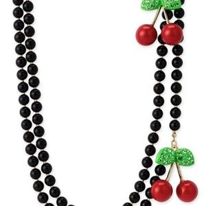 Betsey Johnson NEW w tags cherry necklace crystals
